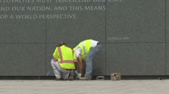 Construction of Martin Luther King memorial monument in DC Stock Footage