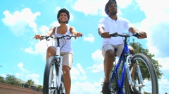 African American Couple Cycling Exercise Stock Footage