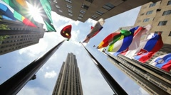 Rockefeller Center International Flags of the World in New York City - stock footage