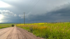 Weather, thunderstorm advance over prairie Stock Footage