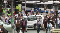 Pedestrian Crossing Time Lapse, Crowd People, Traffic, Sydney Stock Footage