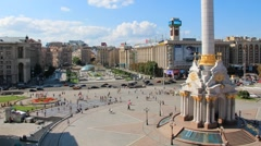 Independence square (Maidan Nezalezhnosti) in Kiev, Ukraine - stock footage