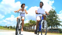 Attractive African American Couple Cycling Together - stock footage