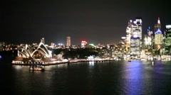 Sydney Harbour at Night Time Lapse, Opera House, City, Traffic, Boats Stock Footage