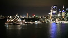 Sydney Harbour at Night, Opera House, City Lights, Veneet - Real Time Arkistovideo