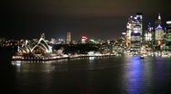 Sydney Harbour at Night, Opera House, City Lights, Boats - Real Time Stock Footage