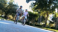 Stock Video Footage of Healthy Cycling Exercise for Seniors