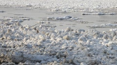 Chunks of ice flow down the river Stock Footage