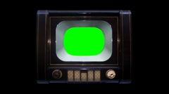 Antique TV Turn On To Key Green with Alpha Channel 3 Stock Footage