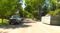 drive plate, summer afternoon city, #14, residentail street and inner-city - stock footage