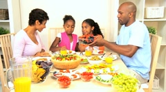 African American Family Eating Healthy Lunch Stock Footage