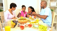 Stock Video Footage of African American Family Eating Healthy Lunch