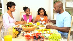 Young Ethnic Family Healthy Lunch Stock Footage