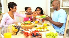 African American Family Enjoying a Healthy Lunch Stock Footage