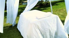 Outdoor Massage Table at Luxury Health Spa Stock Footage