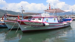 White motorboat in port Stock Footage