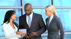 Multi Ethnic Male & Female Business Executives Stock Footage