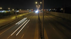 Night Traffic on the Expressway 1 Stock Footage