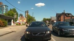 Drive plate, summer afternoon city, #34 inner-city with traffic Stock Footage