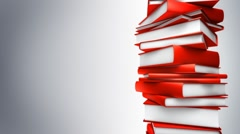 Red Books Stack (Loop) Stock Footage
