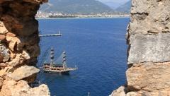 Sea craft. Alanya - stock footage