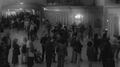 Timelapse passengers at Central Station (B AND W) Stock Footage