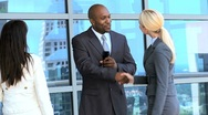 Ambitious Business Executives Using Wireless Tablet Outdoors Stock Footage