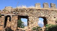 Ruins of old fortress wall, Alanya, Turkey Stock Footage