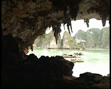 View Of Sea From Inside Of Cave Stock Footage
