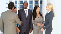 Five Ambitious Business Executives Being Introduced Stock Footage