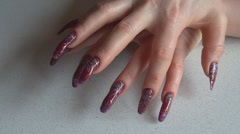 Beautiful and long nails Stock Footage