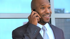 Portrait in Close up of Ethnic Businessman Talking on Smartphone Stock Footage