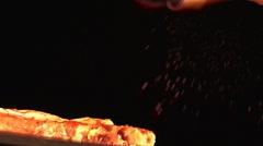 Spice on steak Stock Footage