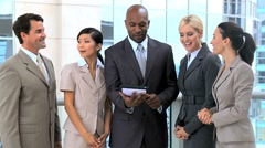 Ambitious Young Business Team Getting Good News Stock Footage