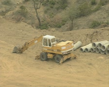 Construction work in the hills with zoom out Stock Footage