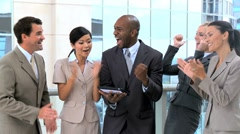 Ambitious Business Team Congratulating Each Other Stock Footage