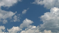 Time lapse fluffy cumulus clouds against light blue sky Stock Footage