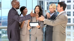 Ambitious Multi Ethnic Business Team Getting Good News - stock footage
