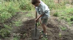 Child labor in the garden Stock Footage