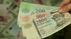 Currency Exchange Rates, Foreign Money Converter, Hungarian Forint HUF Stock Footage