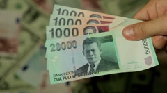 Currency Exchange Rates, Foreign Money Converter, Indonesian Rupiah IDR Stock Footage
