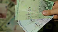 Currency Exchange Rates, Foreign Money Converter, Malaysian Ringgit MYR Stock Footage