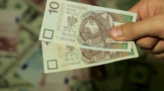 Currency Exchange Rates, Foreign Money Converter, Polish Zloty PLN - stock footage