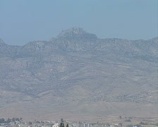 Kyrenia mountains with large Turkish Cypriot flag Stock Footage