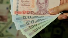 Currency Exchange Rates, Foreign Money Converter, Thai Baht THB Stock Footage