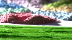 Paintbrush, green color. Detail. Stock Footage