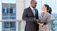Handshake Between Multi Ethnic Business Executives Stock Footage