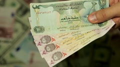 Currency Exchange Rates, Foreign Money Converter, Emirati Dirham AED Stock Footage