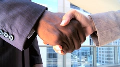 Handshake Greeting Between Multi Ethnic Business People Stock Footage