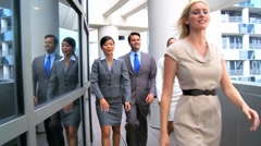 Team Leader & Multi Ethnic Colleagues Going to a Meeting - stock footage